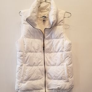 Old Navy White Quilted Puffer Vest Size M